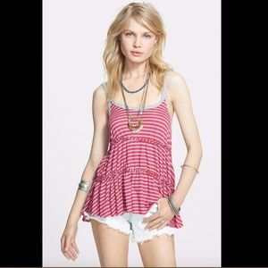 NWT! Free People 'Florence' Stripe Tiered Tank